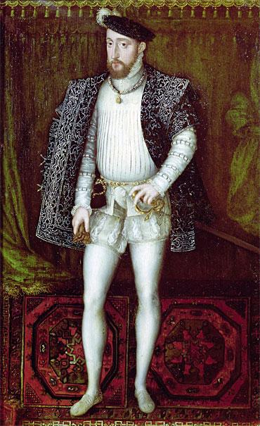Генрих II, муж Екатерины Медичи, в молодости. Портрет Франсуа Клуэ.